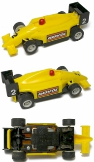 Micro Scalextric HO Slot Car INDY F1 REPSOL #2 Yellow