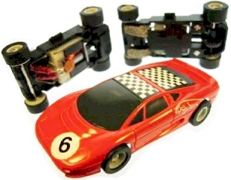Micro Scalextric HO Slot Car Jaguar XJ220 #6 Red